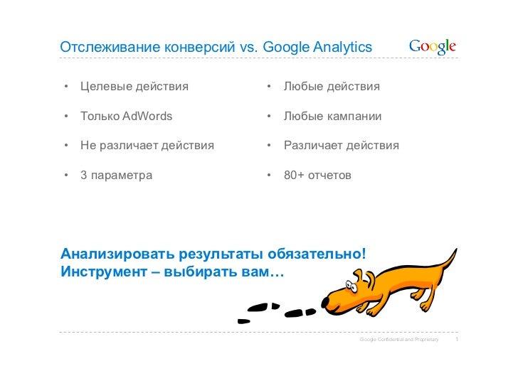 Отслеживание конверсий vs. Google Analytics• Целевые действия         • Любые действия• Только AdWords           • Люб...