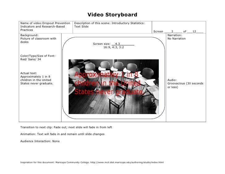 Video StoryboardName of video:Dropout Prevention             Description of this scene: Introductory Statistics:Indicators...