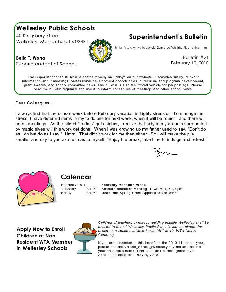Wellesley Public Schools 40 Kingsbury Street                                                Superintendent's Bulletin Well...