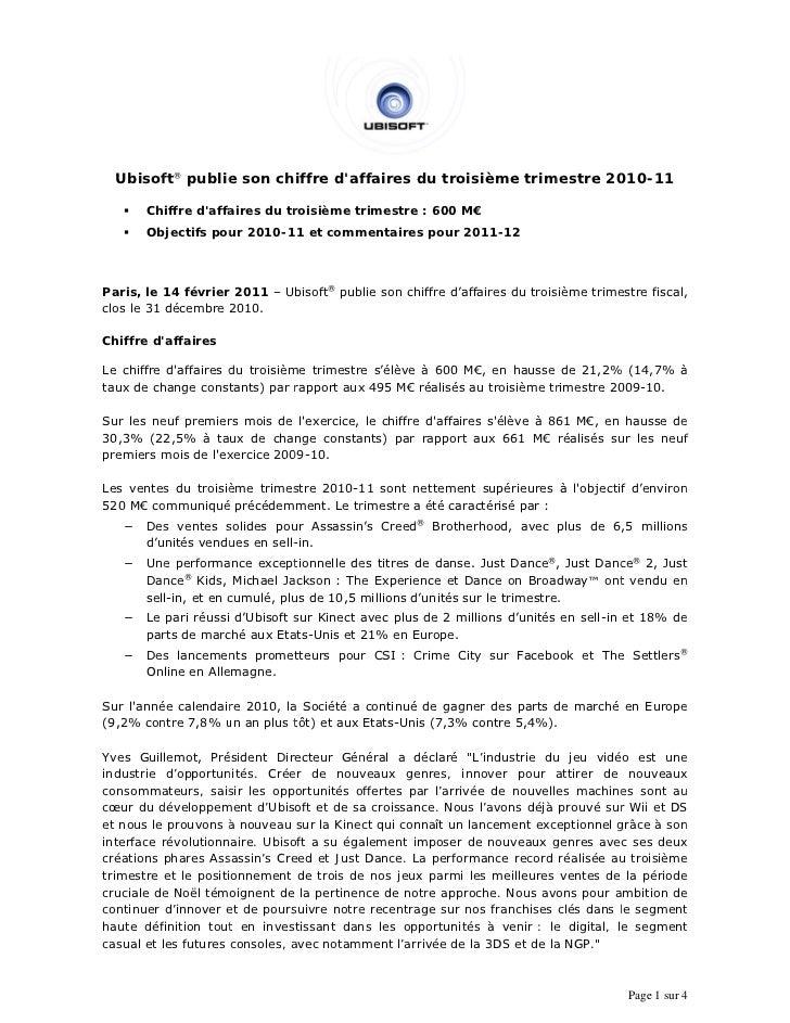 Ubisof ® publie son chiffre daf       ft       e                ffaires d troisiè                                         ...
