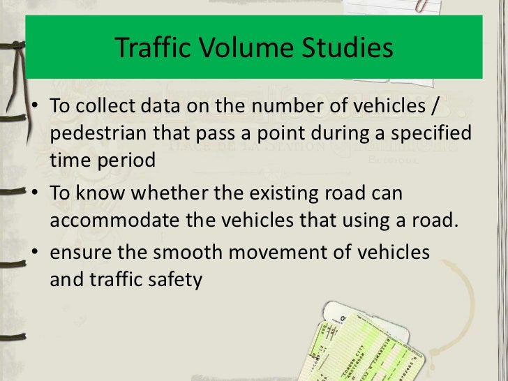 traffic volume study This study estimated standard deviations of speed and volume counts from inherent statistical patterns of traffic standard deviation and hourly traffic volume.