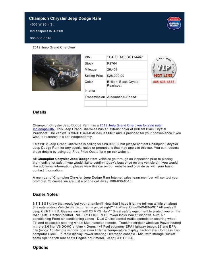 Champion Chrysler Jeep Dodge Ram4505 W 96th StIndianapolis IN 46268888-636-6515 2012 Jeep Grand Cherokee                  ...