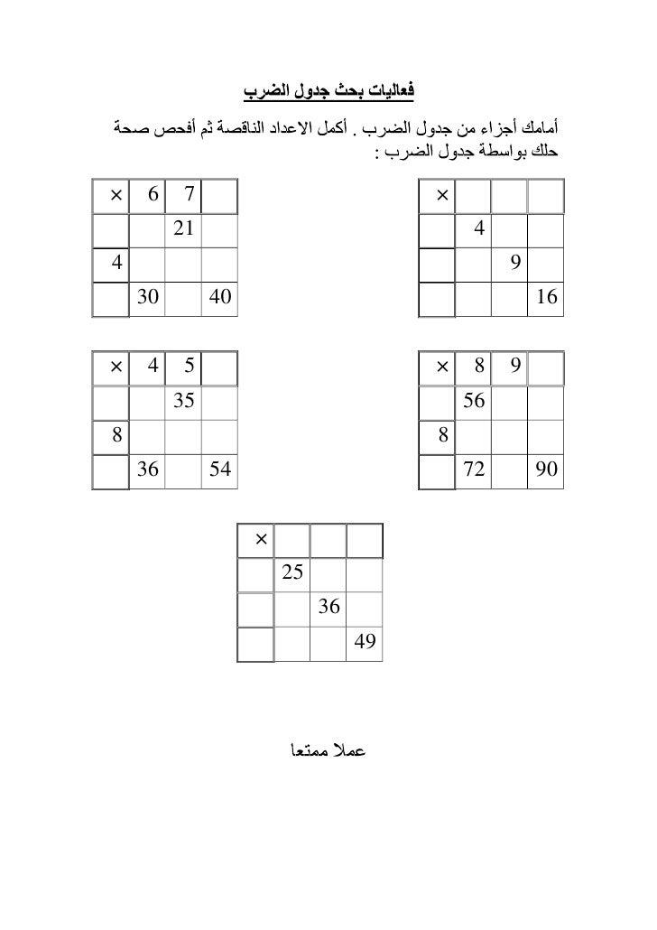 فعاليات بحث جدول الضرب – 2