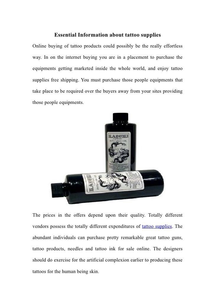 Essential Information about tattoo supplies