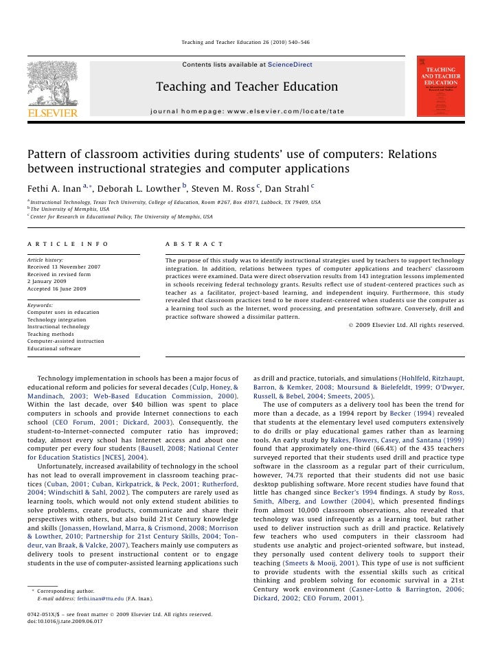 Pattern of classroom activities during students' use of computers: Relations between instructional strategies and computer applications