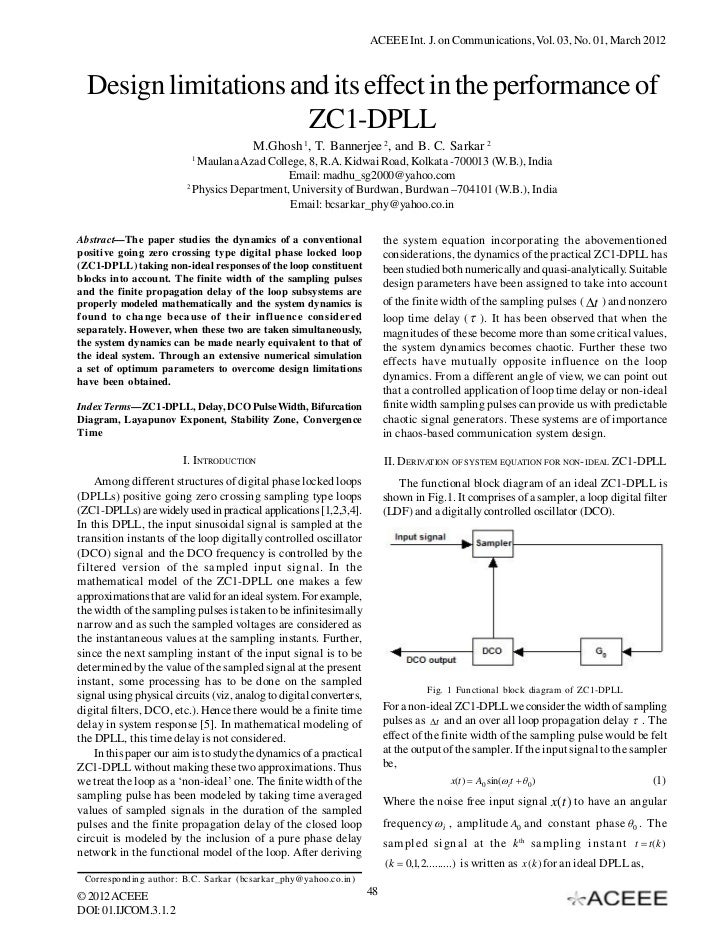 ACEEE Int. J. on Communications, Vol. 03, No. 01, March 2012  Design limitations and its effect in the performance of     ...