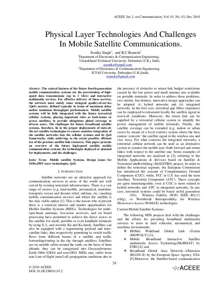 Physical Layer Technologies And Challenges In Mobile Satellite Communications