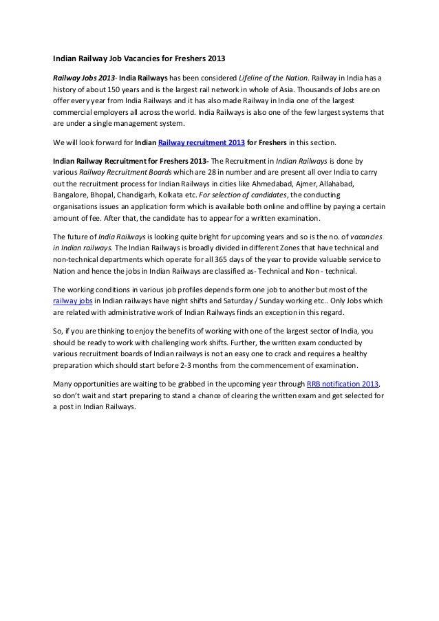 Indian Railway Job Vacancies for Freshers 2013