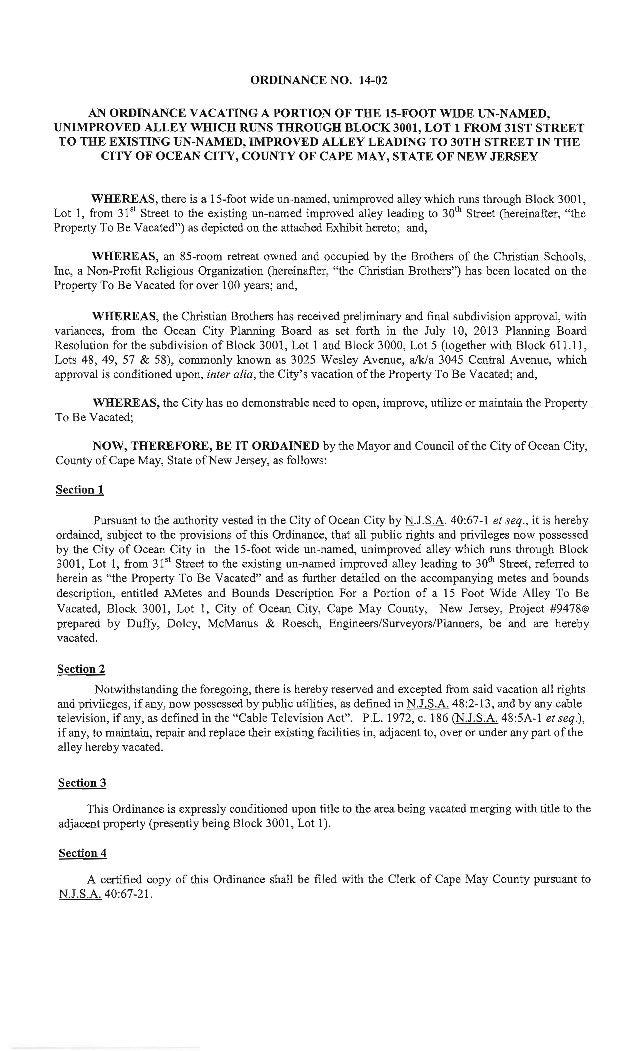 Ocean City Council agenda Feb. 13, 2014