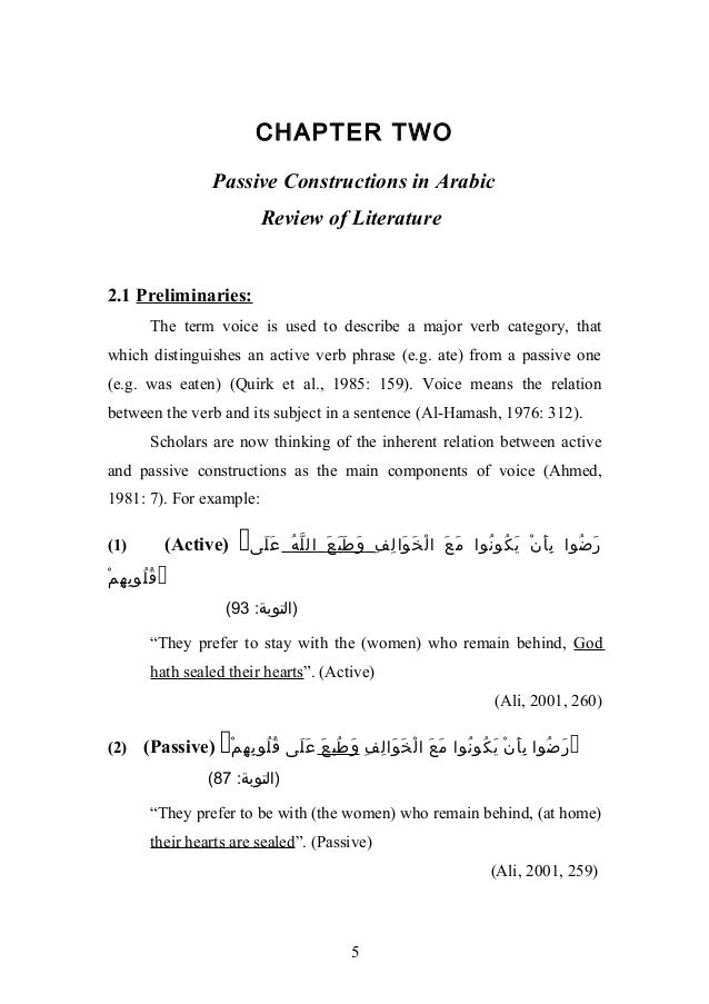 CHAPTER TWO                  Passive Constructions in Arabic                          Review of Literature2.1 Preliminarie...