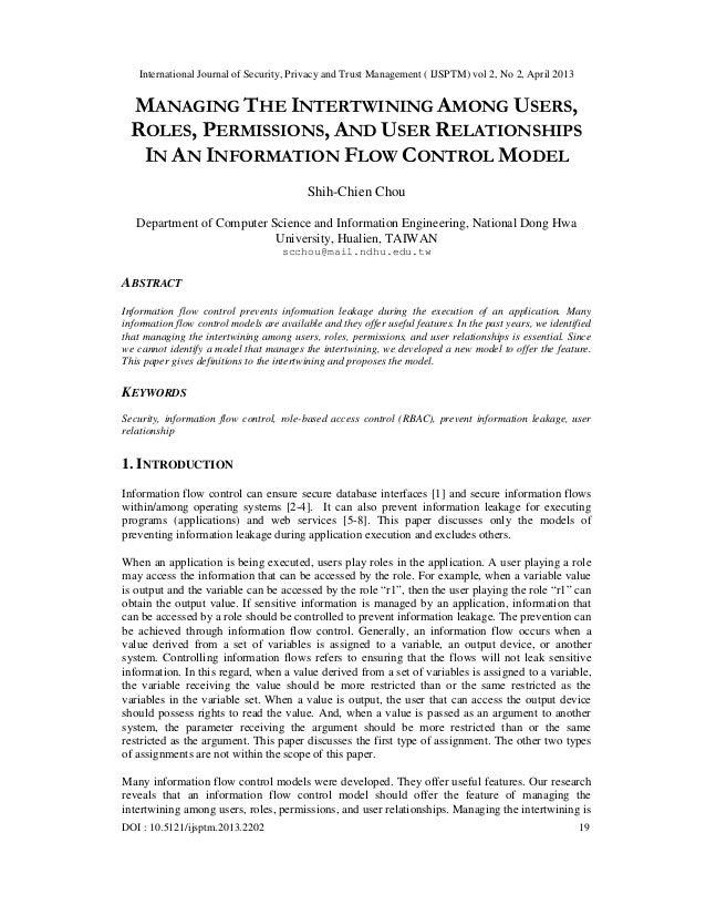 International Journal of Security, Privacy and Trust Management ( IJSPTM) vol 2, No 2, April 2013DOI : 10.5121/ijsptm.2013...