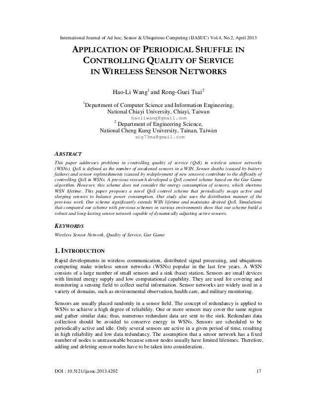 APPLICATION OF PERIODICAL SHUFFLE IN  CONTROLLING QUALITY OF SERVICE IN WIRELESS SENSOR NETWORKS