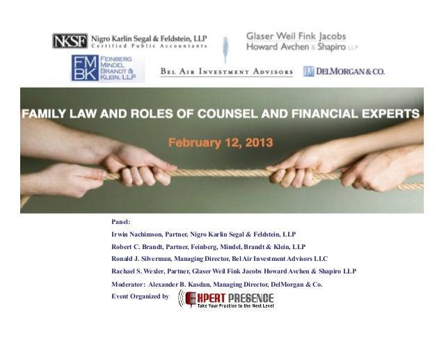 Panel: Irwin Nachimson, Partner, Nigro Karlin Segal & Feldstein, LLP Robert C. Brandt, Partner, Feinberg, Mindel, Brandt &...