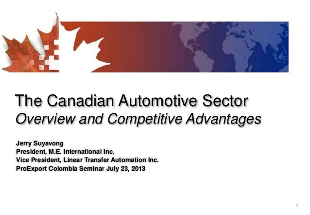 1 The Canadian Automotive Sector Overview and Competitive Advantages Jerry Suyavong President, M.E. International Inc. Vic...