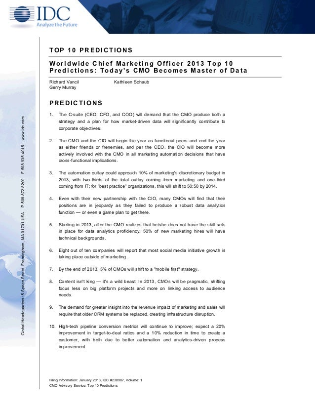 Filing Information: January 2013, IDC #238987, Volume: 1 CMO Advisory Service: Top 10 Predictions T O P 1 0 P R E D I C T ...