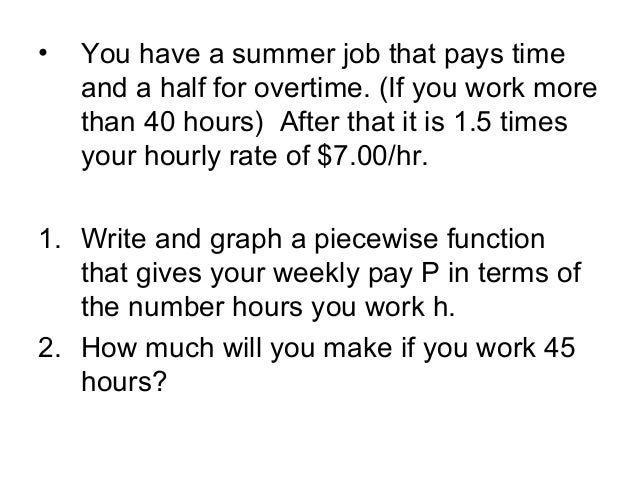 Writing Piecewise Functions & word problems