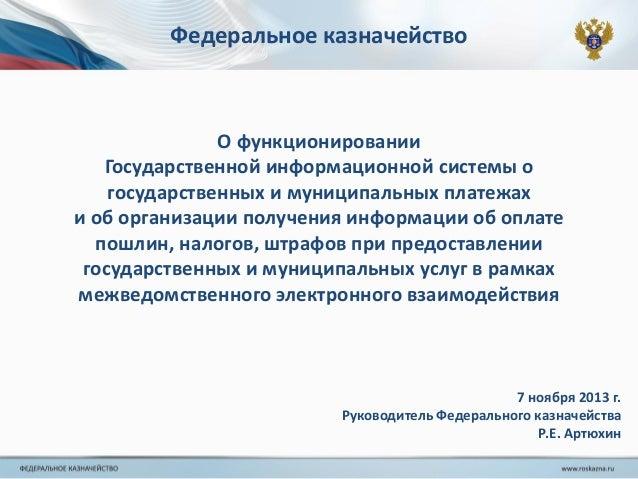 Федеральное казначейство  О функционировании Государственной информационной системы о государственных и муниципальных плат...