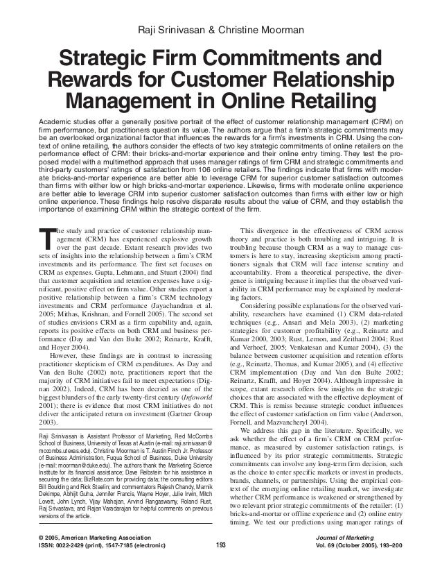 Raji Srinivasan & Christine Moorman  Strategic Firm Commitments and Rewards for Customer Relationship Management in Online...