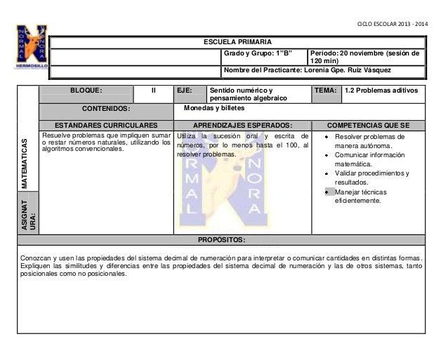 """CICLO ESCOLAR 2013 - 2014  ESCUELA PRIMARIA Grado y Grupo: 1""""B""""  Período: 20 noviembre (sesión de 120 min) Nombre del Prac..."""