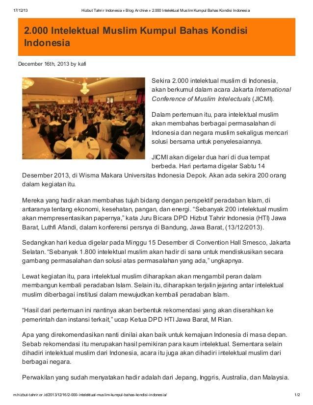 17/12/13  Hizbut Tahrir Indonesia » Blog Archive » 2.000 Intelektual Muslim Kumpul Bahas Kondisi Indonesia  2.000 Intelekt...