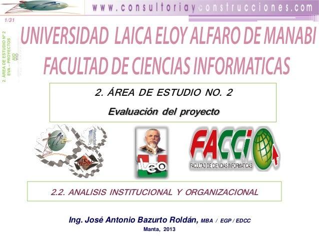 1/31  2. ÁREA DE ESTUDIO NO. 2 Evaluación del proyecto  2.2. ANALISIS INSTITUCIONAL Y ORGANIZACIONAL Ing. José Antonio Baz...