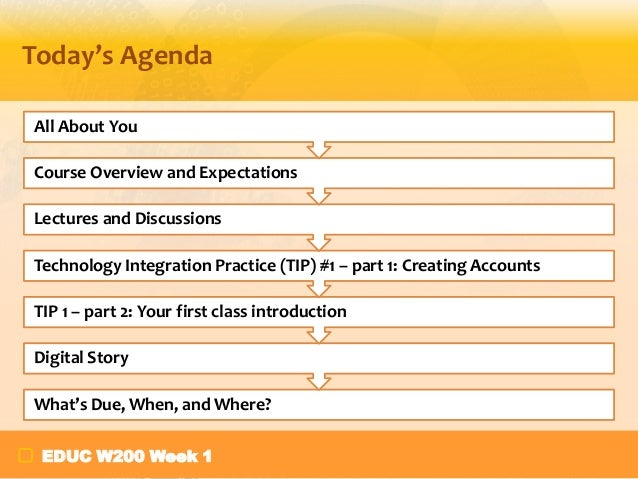 Today's Agenda All About You Course Overview and Expectations Lectures and Discussions Technology Integration Practice (TI...