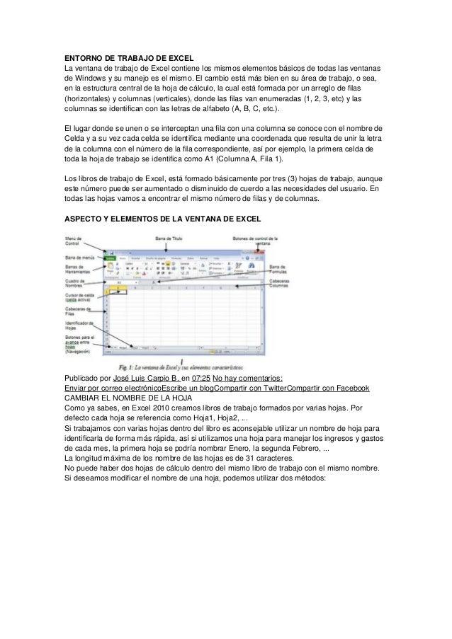 ENTORNO DE TRABAJO DE EXCEL La ventana de trabajo de Excel contiene los mismos elementos básicos de todas las ventanas de ...