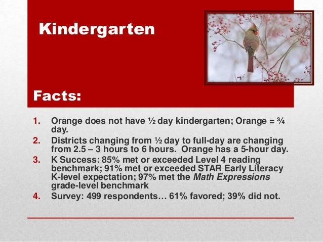 Kindergarten  Facts: 1.  2. 3.  4.  Orange does not have ½ day kindergarten; Orange = ¾ day. Districts changing from ½ day...