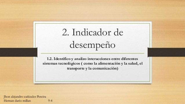 2. Indicador de desempeño 1.2. Identifico y analizo interacciones entre diferentes sistemas tecnológicos ( como la aliment...
