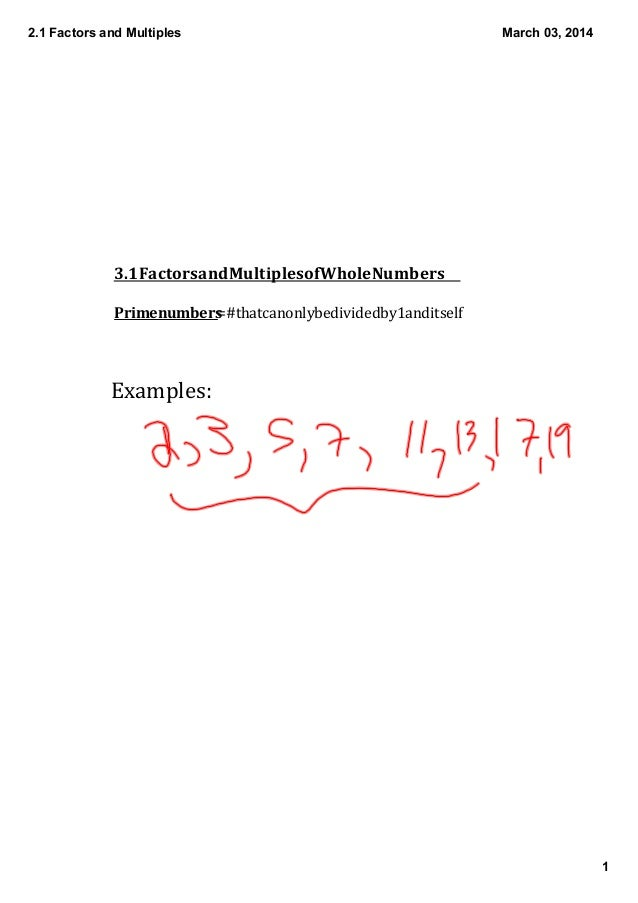 2.1 Factors and Multiples Part 2