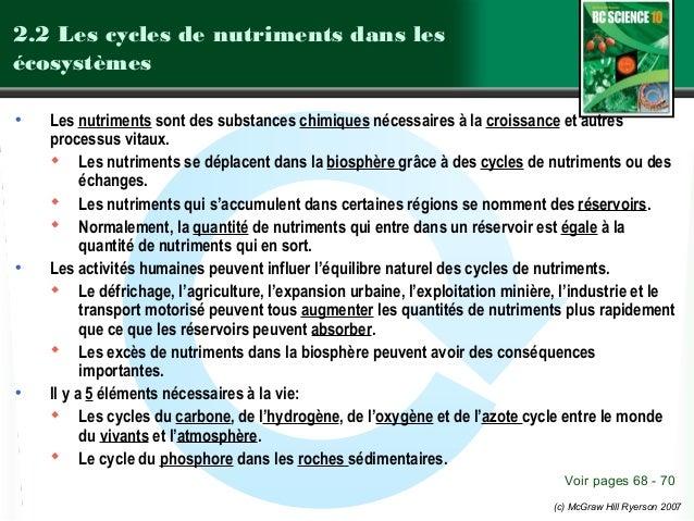2.2 Les cycles de nutriments dans les écosystèmes •  •  •  Les nutriments sont des substances chimiques nécessaires à la c...