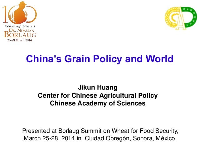 China's Grain Policy and World Jikun Huang Center for Chinese Agricultural Policy Chinese Academy of Sciences Presented at...