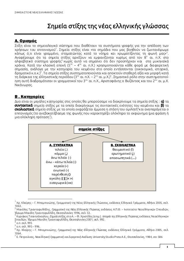 ΣΗΜΕΙΑ ΣΤΙΞΗΣ ΝΕΑΣ ΕΛΛΗΝΙΚΗΣ ΓΛΩΣΣΑΣ 1 Σημεία στίξης της νέας ελληνικής γλώσσας Α. Ορισμός Στίξη είναι το σημειολογικό σύσ...