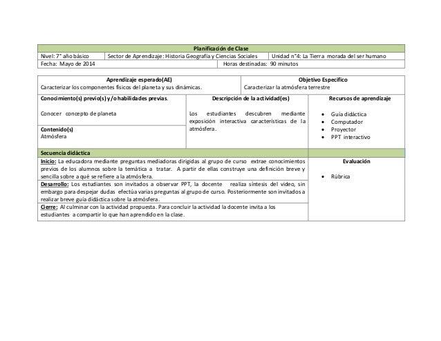 Planificación de Clase Nivel: 7° año básico Sector de Aprendizaje: Historia Geografía y Ciencias Sociales Unidad n°4: La T...