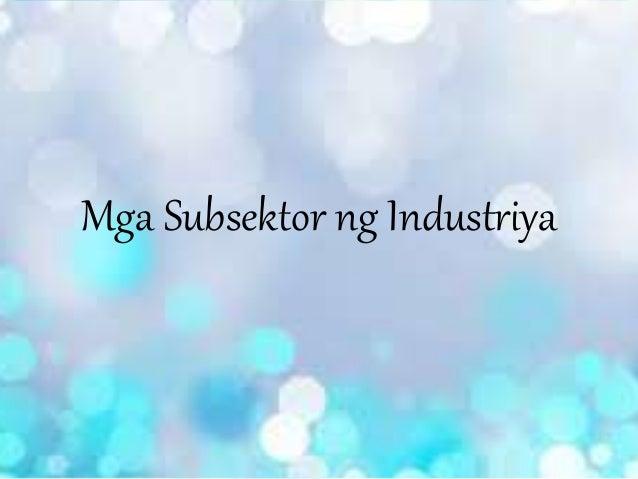 Mga subsektor ng industriya (Ekonomiks)