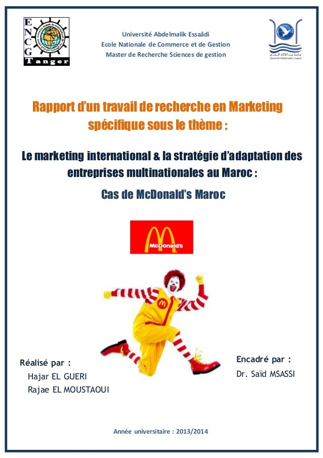 HajarELGUERI rapport marketing internationalstratgies dadaptationcas de mcdo