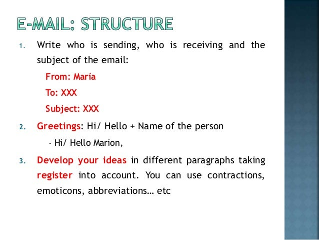 Write who is sending, who is receiving and thesubject of the email ...