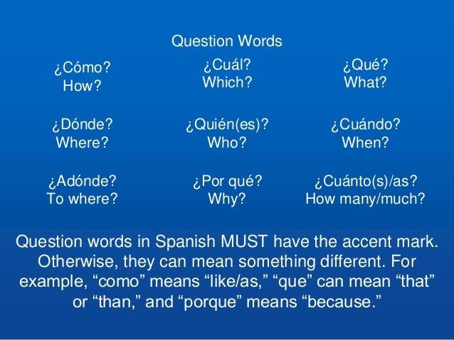 Cognates, Question Words