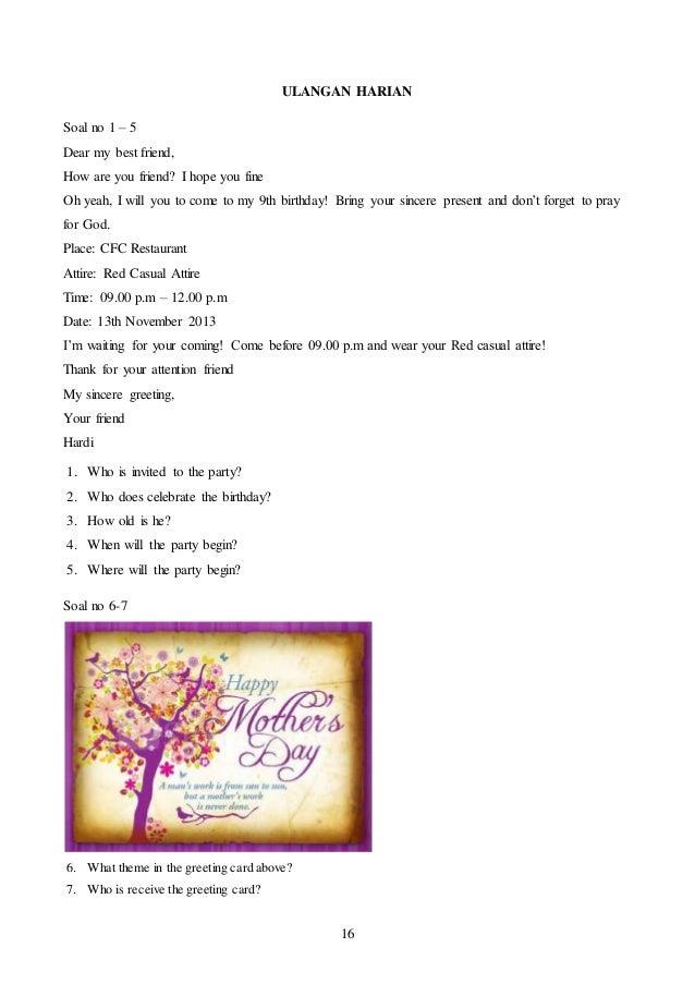 Kisi Kisi Soal Ulangan Harian Kurikulum Rpp Bahasa Inggris Kelas Terbaru Chapter 4 Soal Sd
