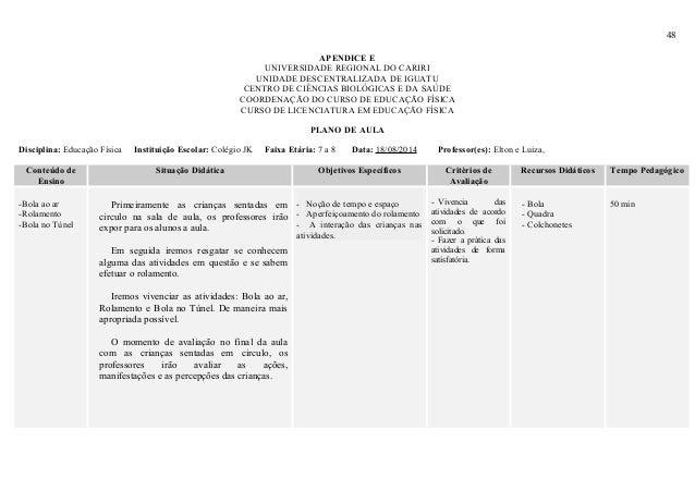 48 APENDICE E UNIVERSIDADE REGIONAL DO CARIRI UNIDADE DESCENTRALIZADA DE IGUATU CENTRO DE CIÊNCIAS BIOLÓGICAS E DA SAÚDE C...