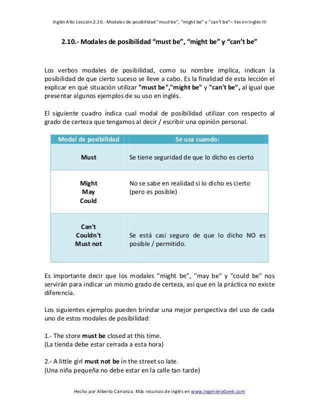 """Inglés Alto Lección 2.10.- Modales de posibilidad """"must be"""", """"might be"""" y """"can't be""""– Yes en Inglés III  Hecho por Alberto..."""