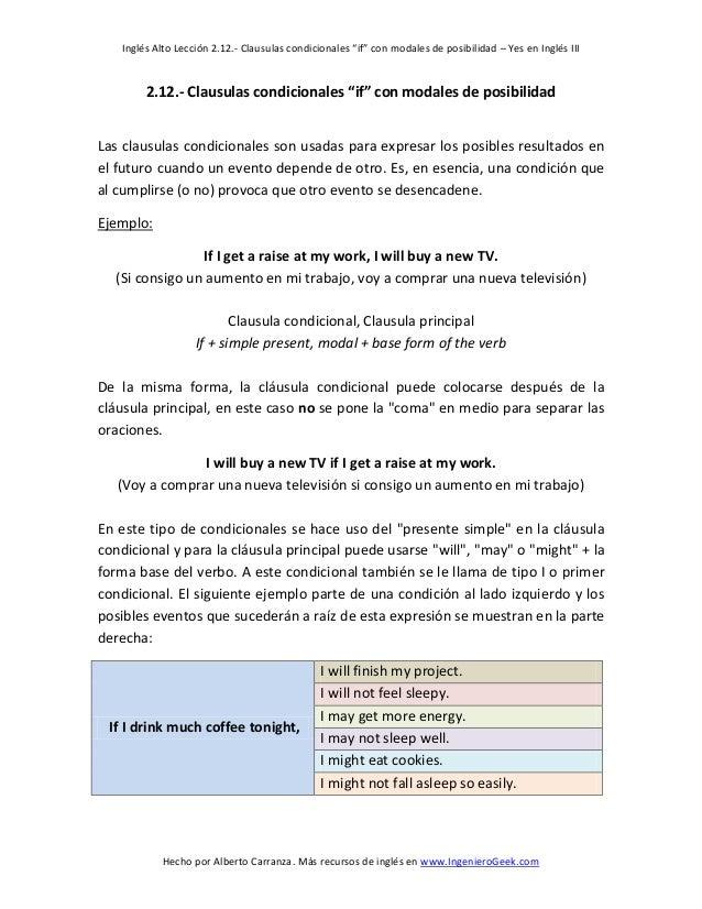 """Inglés Alto Lección 2.12.- Clausulas condicionales """"if"""" con modales de posibilidad – Yes en Inglés III  Hecho por Alberto ..."""
