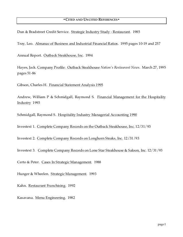 Outback Strategic Study & Financial Analysis: 1995