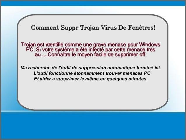 How To delete Trojan est identifié comme une grave menace pour WindowsTrojan est identifié comme une grave menace pour Win...
