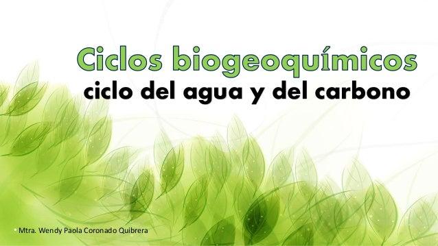 ciclo del agua y del carbono Mtra. Wendy Paola Coronado Quibrera