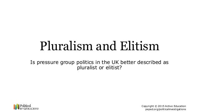 "pluralism and elite theory Rich people rule by larry bartels  the theory of ""majoritarian pluralism"" emphasizes the role  need a lot more research on ""economic elite domination ."