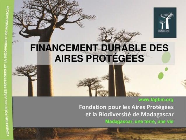 FINANCEMENT DURABLE DES AIRES PROTÉGÉES Fondation pour les Aires Protégées et la Biodiversité de Madagascar www.fapbm.org ...