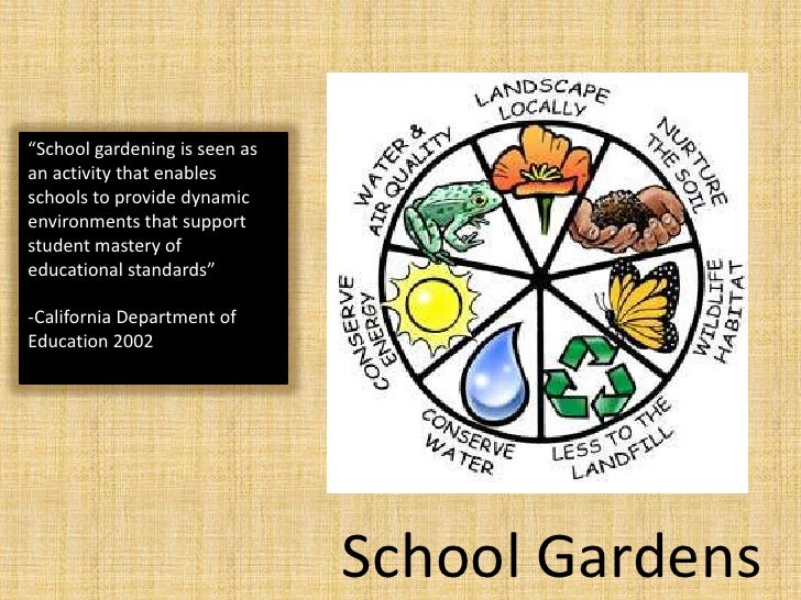"""""""School gardening is seen as an activity that enables schools to provide dynamic environments that support student mastery..."""