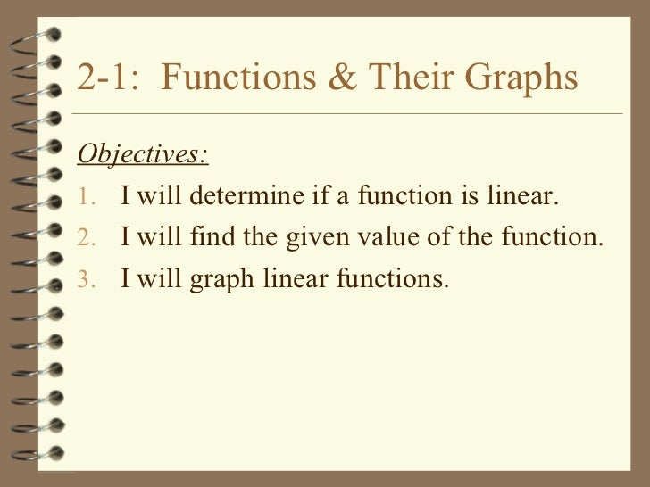 2-1: Functions & Their GraphsObjectives:1. I will determine if a function is linear.2. I will find the given value of the ...