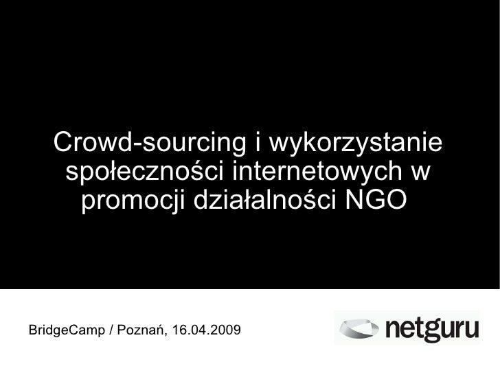 Crowd-sourcing i wykorzystanie społeczności internetowych w promocji działalności NGO  BridgeCamp / Poznań, 16.04.2009